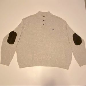 Men Chaps 4XL Sweater 3 Button with Elbow Patches